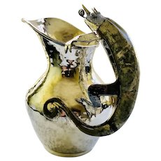 RARE Wolmar Castillo Taxco Handwrought Silverplate Pitcher with Inlaid Chameleon Handle