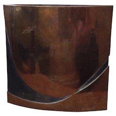 Signed Esa Fedrigolli MidCentury Bronze Wave Vase