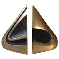RARE Bob Bennett Abstract Modernist Bronze Sculptures/Bookends, Signed and Numbered, 1982