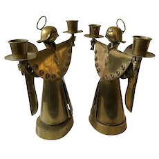 RARE Salvador Teran Taxco Large Handwrought Mixed Metals Angel Candleholders
