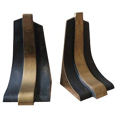 Signed Esa Fedrigolli Sculptural Bronze Bookends