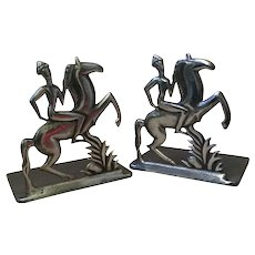 Austrian Art Deco WHW Hagenauer-style Horse and Rider Bookends