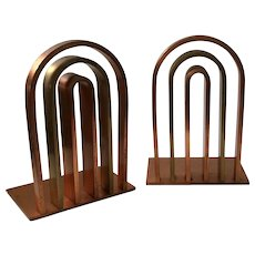Art Deco Copper and Brass Arch Bookends, Walter Von Nessen for Chase c. 1930