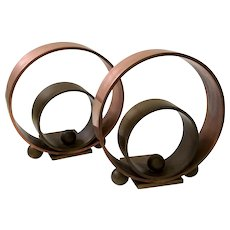 Art Deco Copper and Brass Bookends, Walter Von Nessen for Chase, 1930s