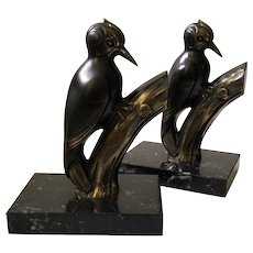 French Art Deco Woodpecker Bookends c. 1920, Signed Franjou