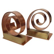 Art Deco Copper and Brass Spiral Bookends, Walter Von Nessen for Chase c. 1930