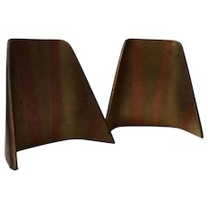"""RARE Ben Seibel MidCentury Brass """"Shovel"""" Bookends with Copper Detail"""