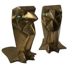 Art Deco Geometric Cubist Brass Falcon Bookends