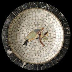 Denmark MidCentury Marble Mosaic Bowl with Bird