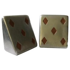"Ben Seibel MidCentury ""5 of Diamonds"" Silver Bookends with Inset Teak for Jenfredware"