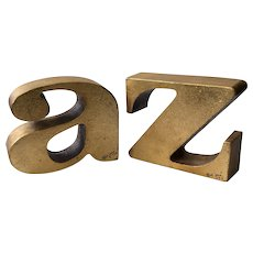 "RARE Signed C. Jere Iconic MidCentury ""a to z"" Gilt Bookends, 1970"