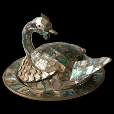 Los Castillo Style Abalone Bird Form Covered Dish and Fish Bottle Opener
