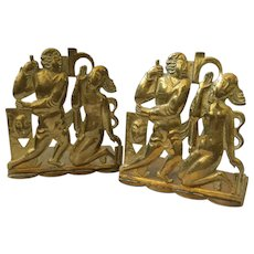 RARE Hagenauer wHw Austrian Art Deco Brass Figural Bookends c. 1920s