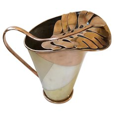 RARE Los Castillo Taxco Handwrought Large Married Metals/Metales Casados Water Pitcher with Copper Leaf Lid, c. 1955