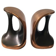"RARE Ben Seibel MidCentury Copper ""Handle"" Bookends for Jenfredware, c. 1950s"