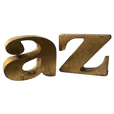 "Iconic C. Jere MidCentury ""a to z"" Gilt Bookends, 1968"