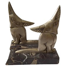 RARE French Art Deco Fennec Fox Bookends c. 1930, signed Marrel