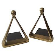 "Ben Seibel MidCentury Modern Brass Triangle or ""Stirrup"" Bookends for Jenfredware"