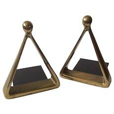 "Ben Seibel MidCentury Modern Brass Triangle or ""Stirrup"" Bookends for Jenfredware"