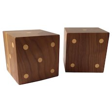 "MidCentury Modern Wooden Dice Bookends, 5"" Cubes"
