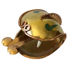 RARE Los Castillo Taxco MidCentury Modernist Mixed Metal Serpent Head Bowl with Inlaid Turquoise and Carved Bone Detail