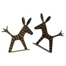 RARE Walter Bosse/Herta Baller Austria MidCentury Patinated Bronze Donkey Bookends