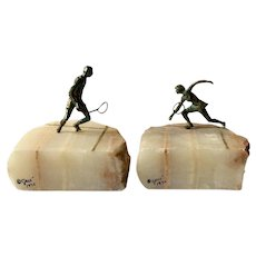 RARE C Jere MidCentury White Onyx and Bronze Tennis Player Bookends, Signed 1976
