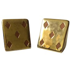 "Ben Seibel MidCentury ""5 of Diamonds"" Brass Bookends with Inset Teak, for Jenfredware"