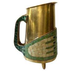 "RARE Salvador Teran Taxco MidCentury Brass and Glass Mosaic ""Opposing Hands"" Water Pitcher, Book Piece"