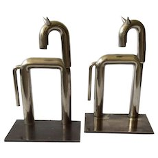 RARE Art Deco Machine Age Walter Von Nessen Horse Bookends for Chase in Nickel, c. 1930