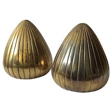 """Ben Seibel MidCentury Brass """"Seeds"""" Bookends for Jenfredware"""