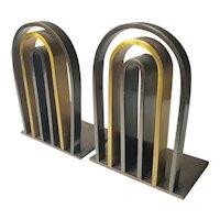 1930s Art Deco/Machine Age Brass Arch Bookends, Walter Von Nessen for Chase