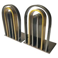 1930s Art Deco/Machine Age Brass Arch Bookends, Walter Von Nessen for Chase