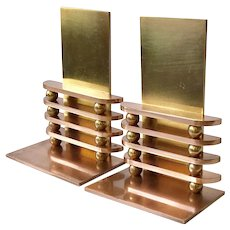 "RARE Walter Von Nessen Art Deco Chase Copper and Brass ""Octaball"" Bookends, 1933"