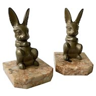 Hippolyte Moreau French Art Deco Rabbit Bookends c. 1920