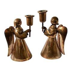 Los Castillo Taxco MidCentury Handwrought Copper Angel Candleholders