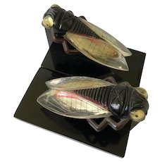 RARE Art Deco Bakelite and Celluloid Fly Figural Bookends