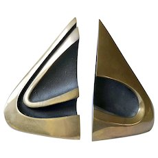 RARE Bob Bennett Abstract Modernist Bronze Sculptural Bookends, Signed and Numbered, 1982
