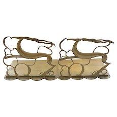RARE Hagenauer wHw Austrian Art Deco Brass Gazelle Bookends c. 1920s