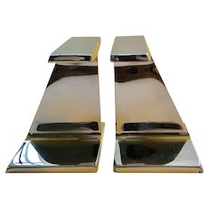 Modernist Chrome I-Beam Bookends, James Prestini Style