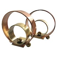 """Art Deco """"Hoops and Balls"""" Chase Copper and Brass Bookends, Walter Von Nessen c 1930s"""