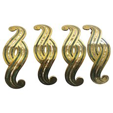 Los Castillo Taxco MidCentury Modernist Brass Handles or Pulls Inlaid with Azurite and Abalone, Set of 4