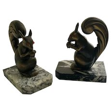 French Art Deco Squirrel Bookends, Franjou c 1920s
