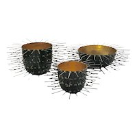 Trio of Spiny Decorative Vessels with Gilt Interior