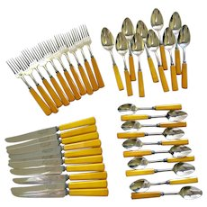 Service for 10 Butterscotch Bakelite Flatware
