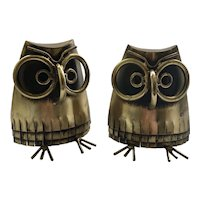 RARE C. Jere Modernist Brass Owl Bookends