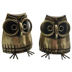 RARE C. Jere Modernist Brass Owl Bookends