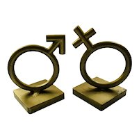Iconic C. Jere MidCentury Gender Symbol Gilt Bookends, 1968