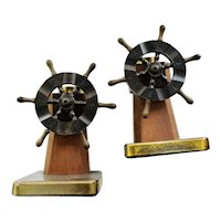 Chase Art Deco Bakelite and Walnut Captain's Wheel Bookends, Walter von Nessen c 1940
