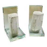 MidCentury Lead Crystal and Selenite Crystal Bookends